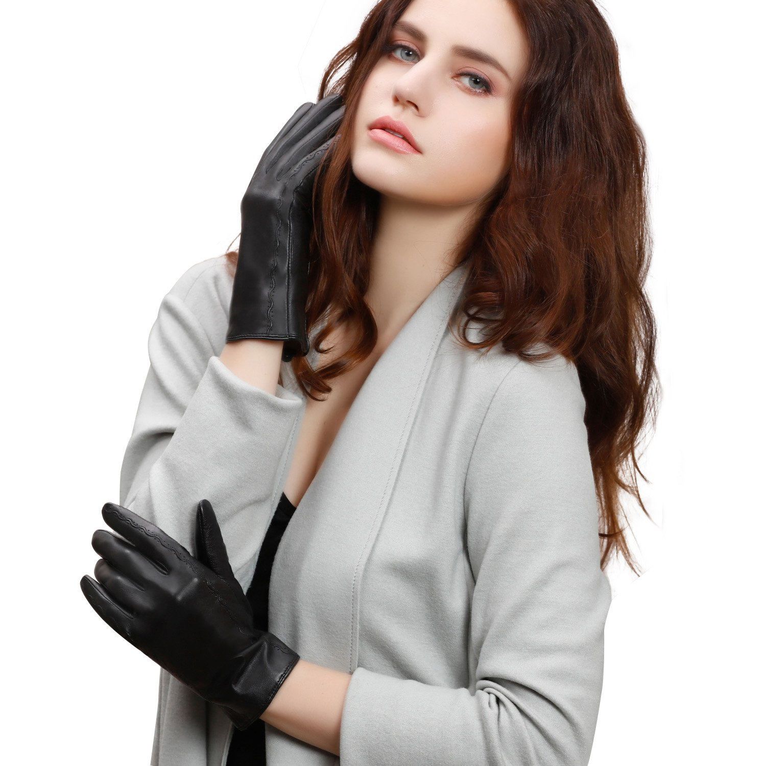 GSG Womens Stylish Italian Full Palm Touchscreen Gloves Genuine Nappa Leather Driving Gloves Wool Winter Nice Gifts M