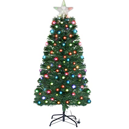Holiday Essence 5 Ft Prelit Led Artificial Christmas Tree With Solid Metal Legs 5 Foot Prelit With 150 Multicolor Changing Color Led Lights With 5