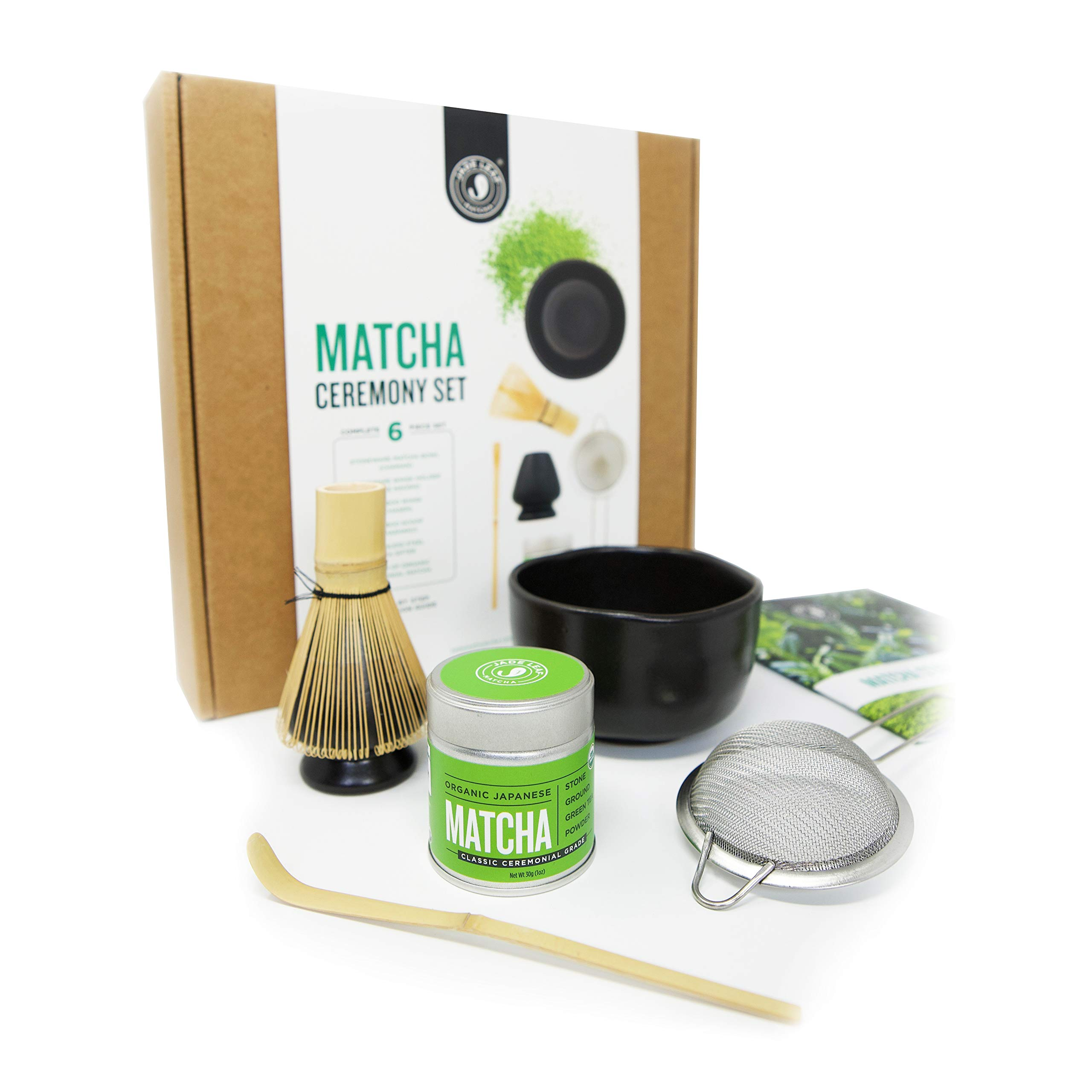 Jade Leaf - Complete Matcha Ceremony Gift Set - Ceremonial Grade Organic Matcha Green Tea Powder Tin, Bamboo Matcha Whisk and Scoop, Stainless Steel Sifter, Stoneware Bowl & Whisk Holder, Prep Guide by Jade Leaf Matcha