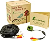 Green Feathers 700TVL Wired Bird Box Camera with Audio, Night Vision and 20m AV Cable- Perfect Nest Box Pack, Bird House Kit, RCA, 940nm Invisible Infrared, Garden Wildlife Camera