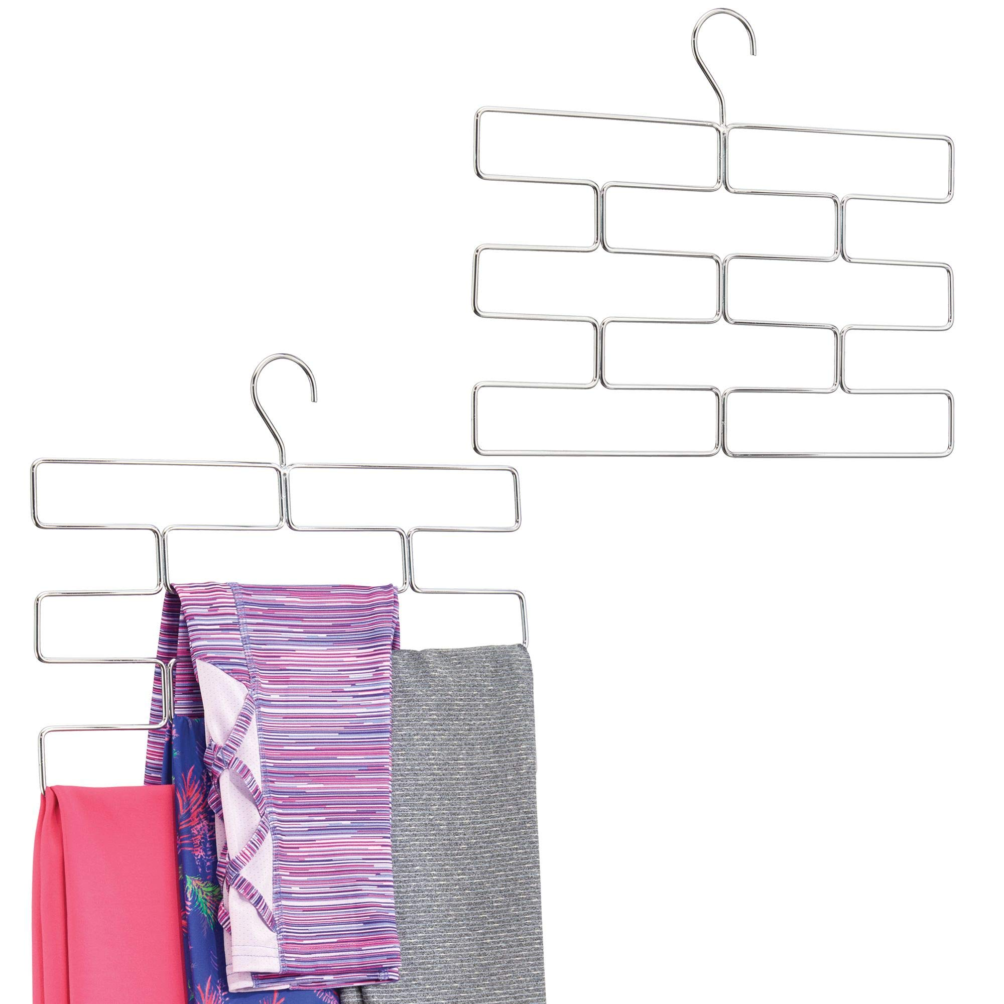 mDesign Modern Metal Closet Rod Hanging Accessory Storage Organizer Rack for Scarves, Ties, Yoga Pants/Leggings, Tank Tops - Snag Free Geometric Design - 8 Sections, Pack of 2, Chrome