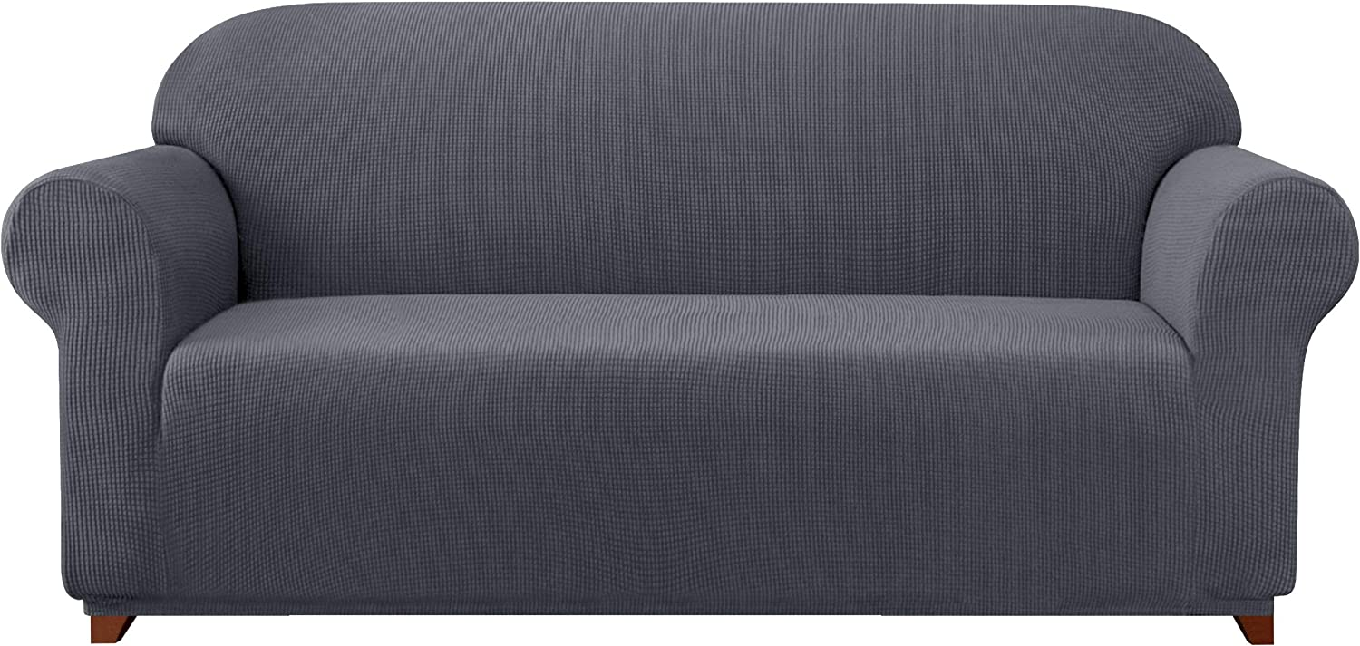Subrtex Sofa Cover 1-Piece Stretch Couch Slipcover Soft Couch Cover Loveseat Slipcover Armchair Cover Furniture Protector Machine Washable(X-Large, Gray)