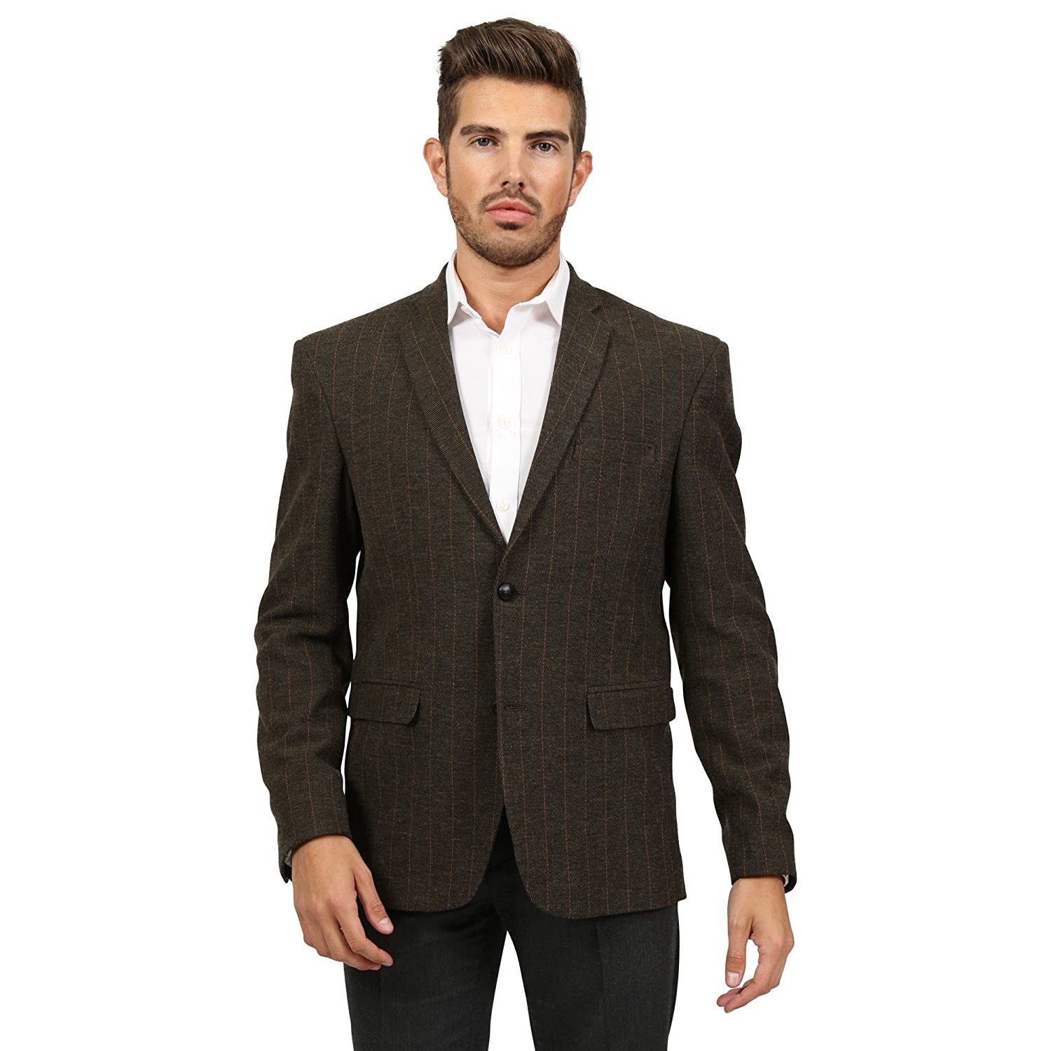 Men's Brown Stripe Blazer Art Leo
