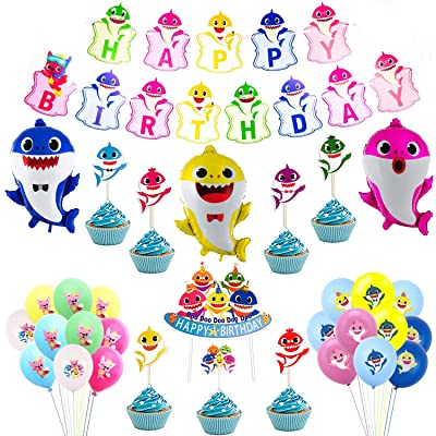 Kobit Cute Shark Party Supplies 49 Pcs Birthday Decorations include 1 Happy Birthday Banner, 1 Cake Topper, 24 Cupcake Toppers, 20 Mini Shark Balloons, 3 Big Shark Balloons for Kids Birthday Baby Shower Themed Party Decoratio
