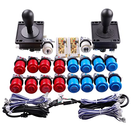 Easyget Classic Arcade Game DIY Parts for Mame USB Cabinet 2x Zero Delay  USB Encoder + 2x 8 Way Classic Arcade Joystick + 18x Happ Style Push Button