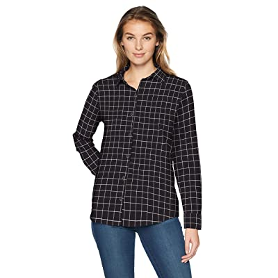 Essentials Women's Classic-Fit Long-Sleeve Lightweight Plaid Flannel Shirt: Clothing