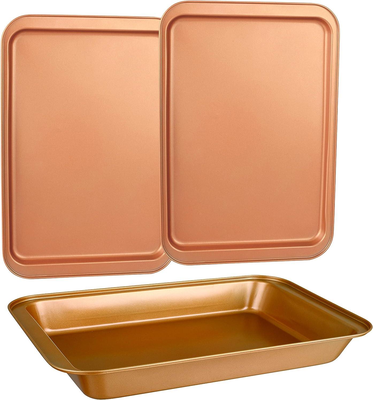 3 pcs Toxic Free NONSTICK Cookie Sheet CopperKitchen Baking Pans BAKEWARE Set 3 Durable Quality Organic Environmental Friendly Premium Coating Rectangle Pan