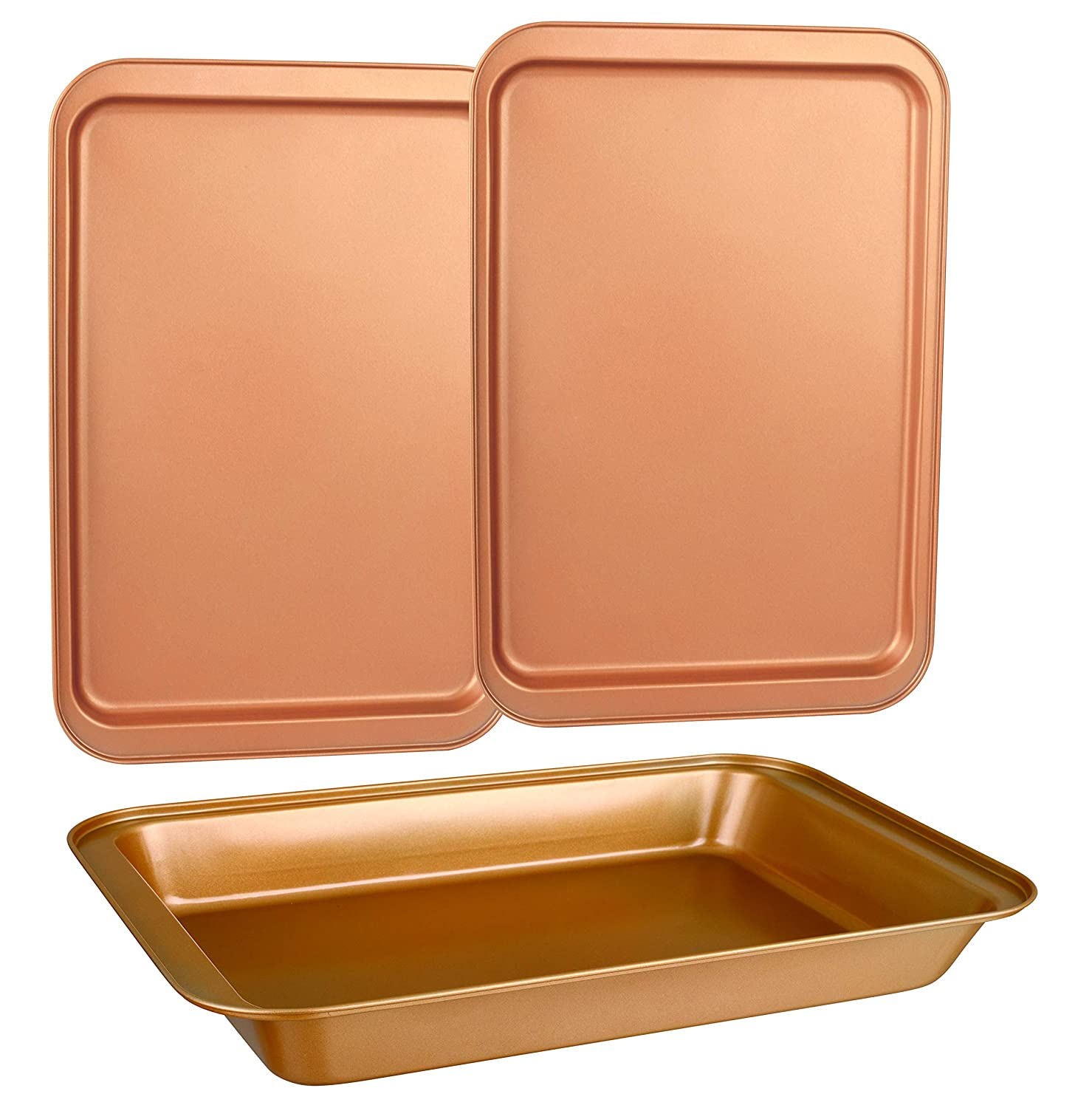 CopperKitchen Baking Pans - 3 pcs Toxic Free NONSTICK - Organic Environmental Friendly Premium Coating – Durable Quality - Rectangle Pan, Cookie Sheet - BAKEWARE SET (3)
