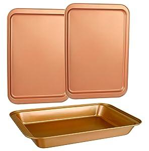 CopperKitchen Baking Pans - 3 pcs Toxic Free NONSTICK - Organic Environmental Friendly Premium Coating – Durable Quality - Rectangle Pan, Cookie Sheet - BAKEWARE SET (3)