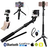 "Premium HD Selfie Stick & Tripod 3-in-1 Photo Kit for New GoPro, iPhone 6S, 6 Plus, Android or Camera - Bluetooth Shutter w/ Clip & Convenient Carry Bag Included | Universal Fit: Any GoPro Hero (Session/Hero4/3+/3), iPhone (6/6S/Plus/5/4), Samsung Galaxy, and any Smartphone up to 3.5"" wide + Any Point & Shoot Camera 