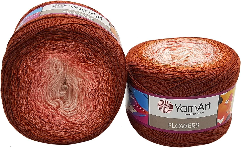 55/% Cotone Multicolore Bordeaux Lilla Grigio 286 Gomitolo di Lana da 500 g YarnArt Flowers