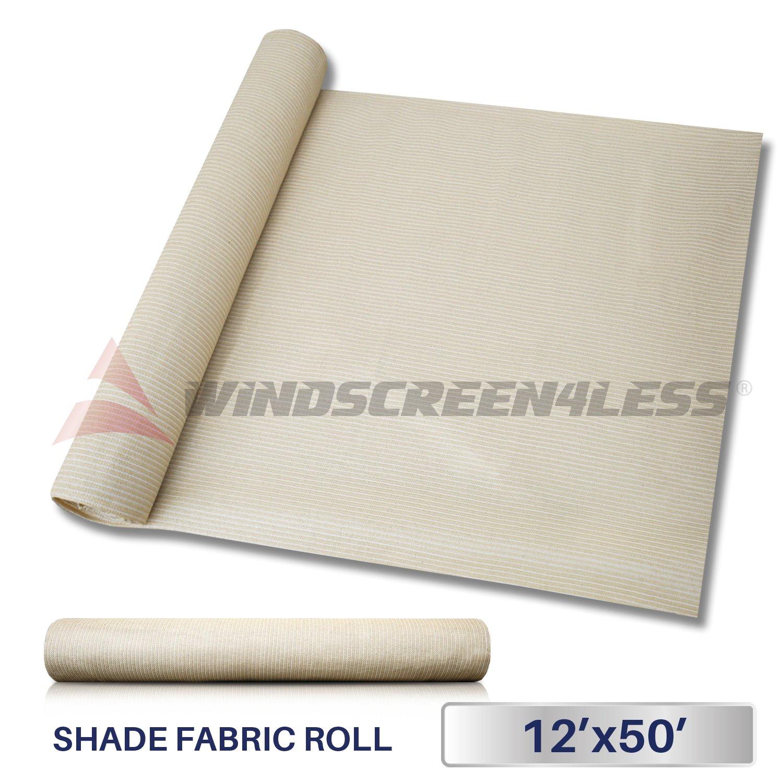 Windscreen4less Beige Sunblock Shade Cloth,95% UV Block Shade Fabric Roll 12ft x 50ft