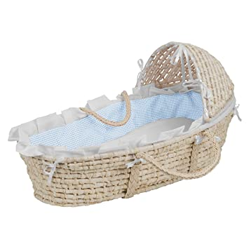 Ecru//Beige Gingham Bedding NATURAL Moses Basket no hood