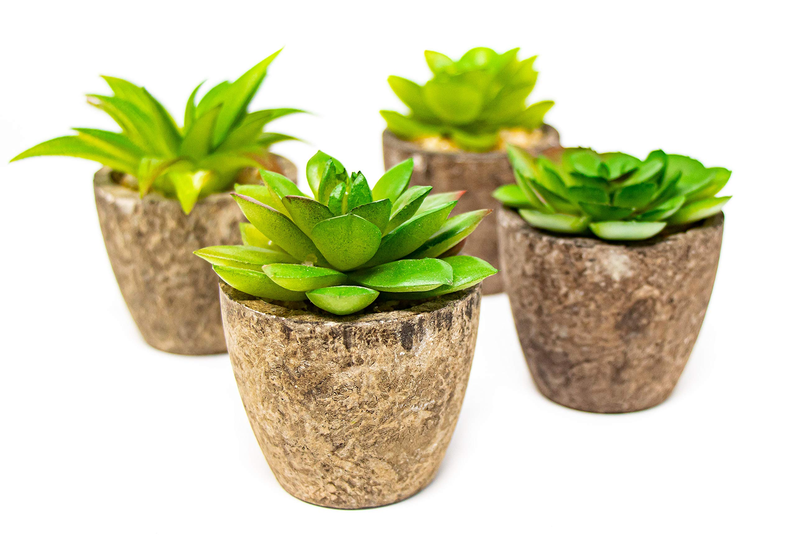 Artificial Succulent Plants Set - Set of 4, Fake Potted Succulents, Mini Faux Assorted Planters, Decorative Plant, Mini Lifelike Assorted Green Faux Succulents- Perfect Indoor and Outdoor Ornaments