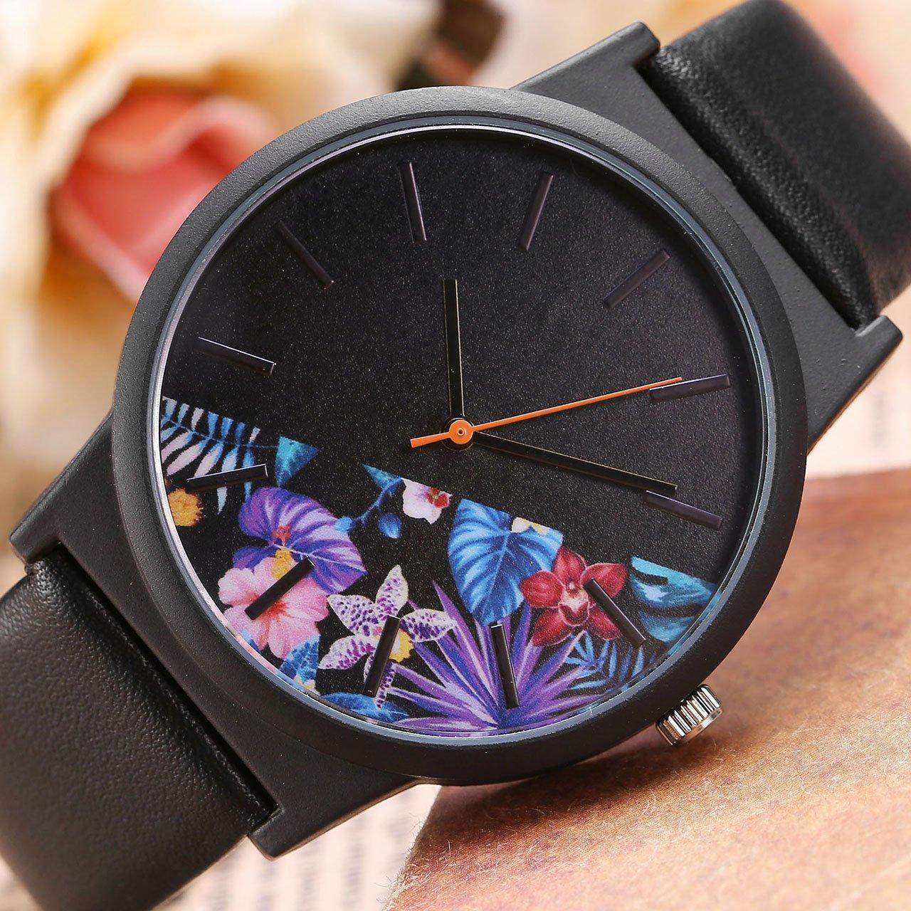 JSDDE Montre à Quartz Femme Fille Basel style Montre-bracelet moitié violet Bleues fleurs Noir Cadran Bracelet PU cuir(Noir)