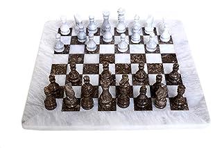 RADICALn Marmo ponderato a mano in stile Oceanic bianco e grigio Popolare Set di scacchi Torneo classico Staunton - Logica stile regalo ambasciatore Play Board Chess Game