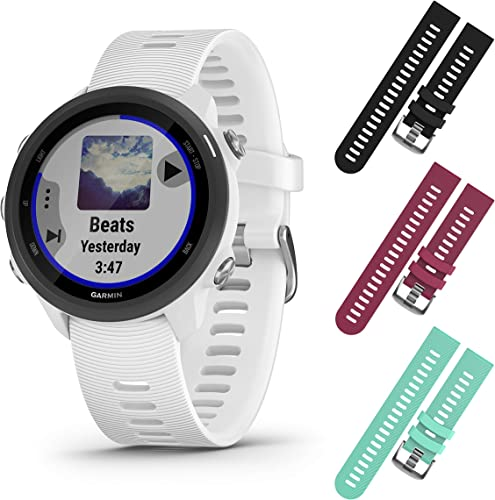 Garmin Forerunner 245 GPS Running Smartwatch with Included Wearable4U 3 Straps Bundle White Music 010-02120-21, Black Berry Teal