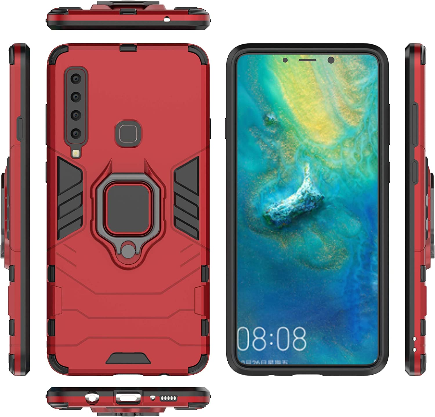 nincyee Bumper Case for Samsung Galaxy A9 2018,Car Magnetic Stand Holder 360 Degree Adjustable Ring Kickstand Cover for Samsung Galaxy A9 2018