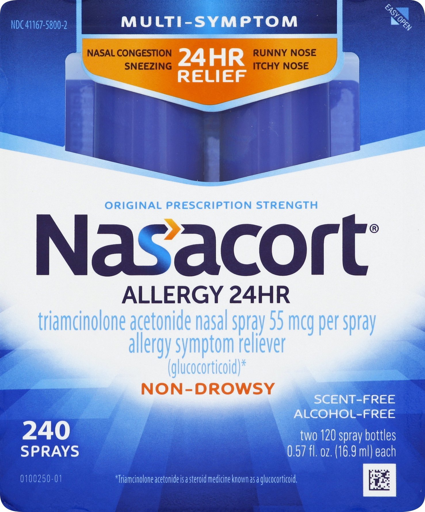 Nasacort Allergy 24 Hour Nasal Spray, Provides Relief for Allergy Symptoms Including Nasal Congestion, Sneezing, Runny Nose, Itchy Nose, Alcohol and Scent Free Nasal Spray, 0.57 Fl Oz, Pack of 2 by Nasacort