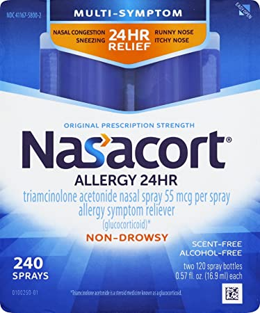 Nasacort Allergy 24 Hour Nasal Spray, 16 9 ml (2 Bottles), Provides Relief  for Allergy Symptoms Including