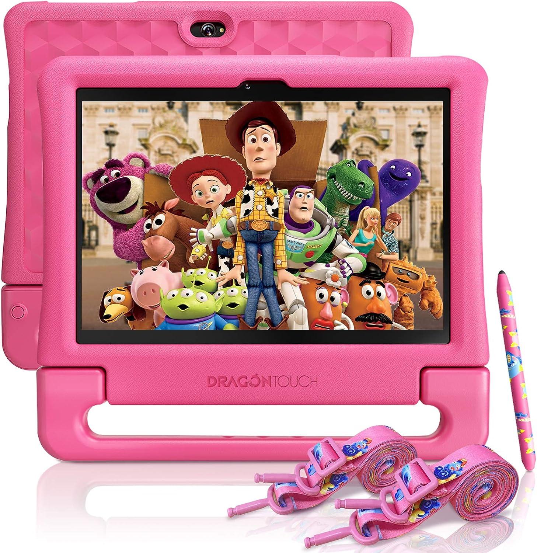 Dragon Touch KidzPad Y88X 10 Kids Tablets - Installed Disney Audio Books, 2GB RAM 32GB ROM, Quad-Core Processor, 10.1 IPS HD Display, Micro HDMI, Android 9.0 Pie, 5G WiFi, HDMI Port, Straps and Stylus