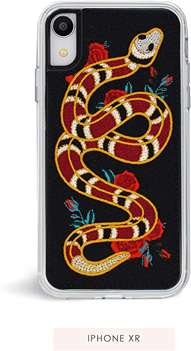 Zero Gravity Compatible with iPhone XR Strike Phone Case - Embroidered Snake and Rose Design - 360° Protection, Drop Test Approved