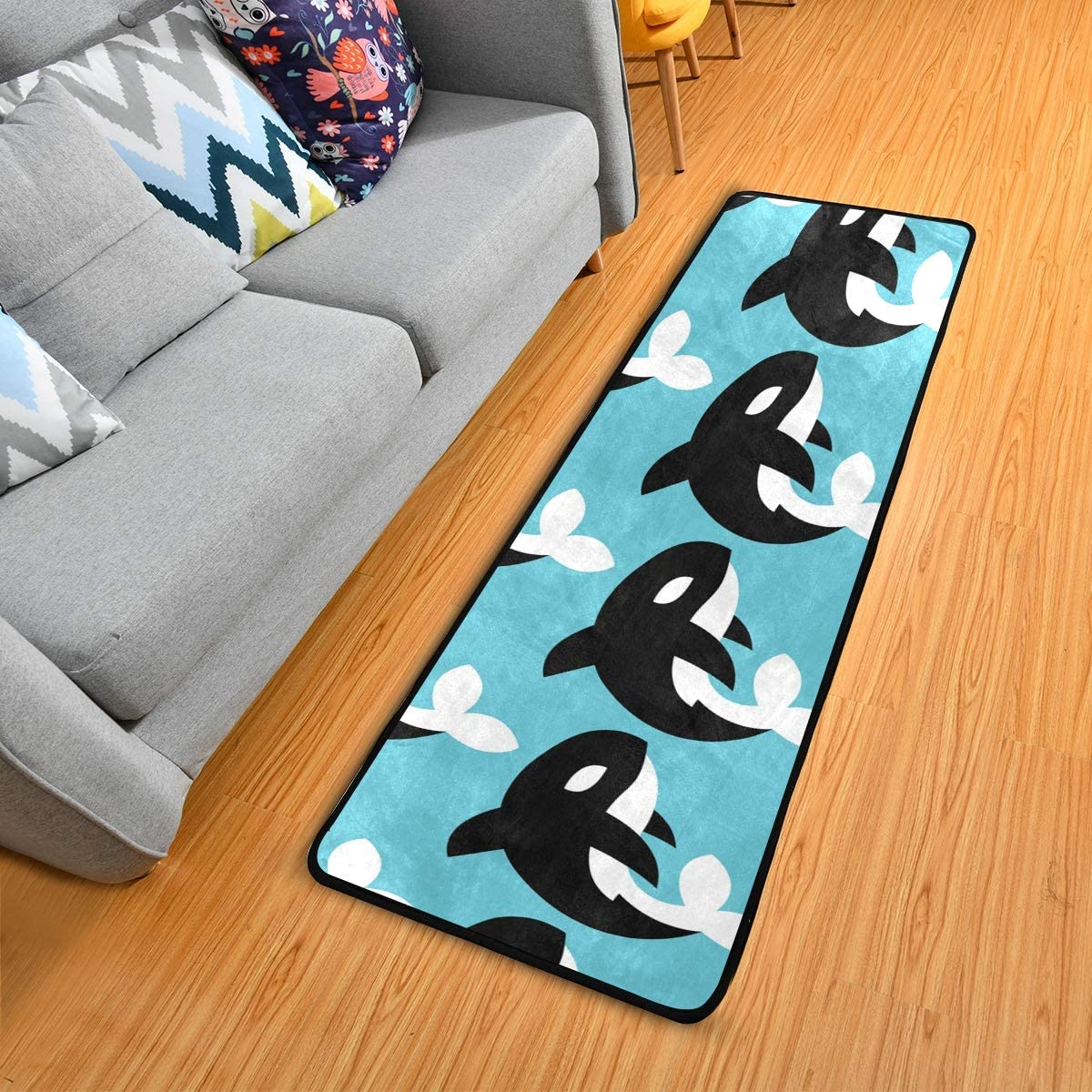 Modern Hallway Runner Rugs Cartoon Black White Whale Blue Living Room Area Rug Super Soft Entryway Long Bed Desk Kitchen Floor Doormat 24x72in 2 X6 Kitchen Dining