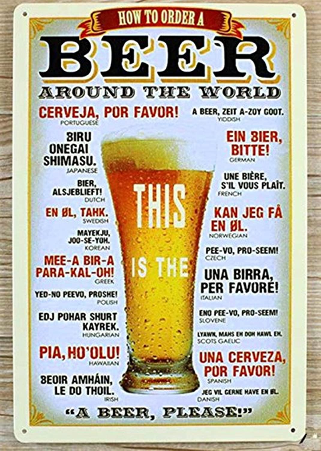 DWE Bar Poster,Cold Metal Vintage Personalised Beer Advertising Poster Sign Plauqe Wall Decor Retro Bar Pub 4A