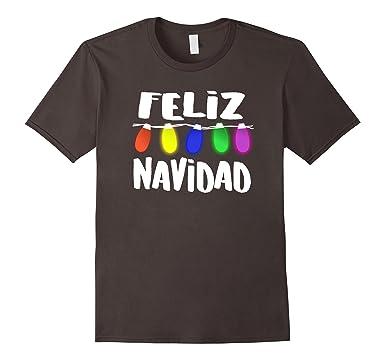Mens Luces de Navidad, Feliz Navidad Camisa T Shirt 2XL Asphalt
