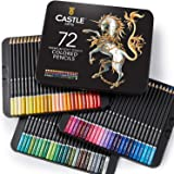 Castle Art Supplies 72 Colored Pencils Set for Coloring Books - New and Improved Premium Artist Soft Series Lead with…
