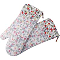 Silicone Oven Mitts, Pack of 2 Heat Resistant Kitchen Gloves with Quilted Liner