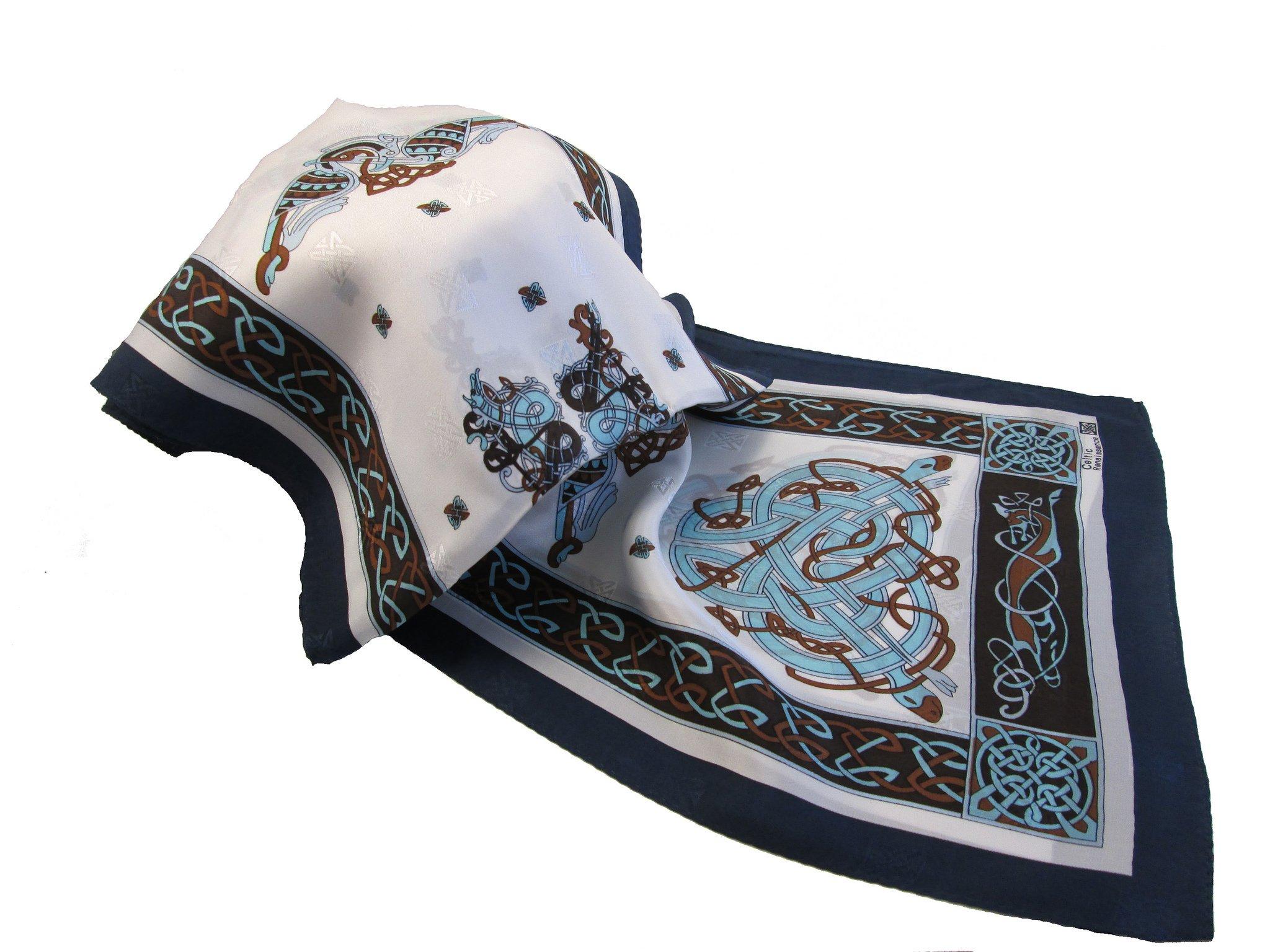 Irish Silk Scarf Celtic Design Teal from B. Slowey