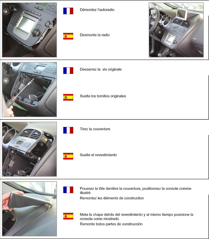 Toledo III ab 1//2005 bis 2009 KUDA 279005 Halterung Kunstleder schwarz f/ür Seat Altea ab 5//2004 bis 2015