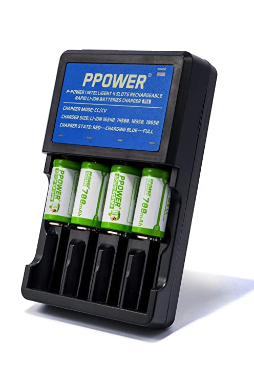 Ppower Pbe 4 X 700mAh 3 7v Cr123a Li-ion Rechargeable Battery + PPOWER 4  Slots 3 7V Li-ion charger (PI4) + Battery boxes (4X) CE Certified for Arlo