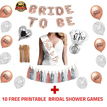 Rose Gold Bridal Shower Decorations and Games:228pcs Bachelorette Gifts  Bride to Be Banner, Tassels, Sash, Heart/Ring Foil, Confetti and she Said  yaas