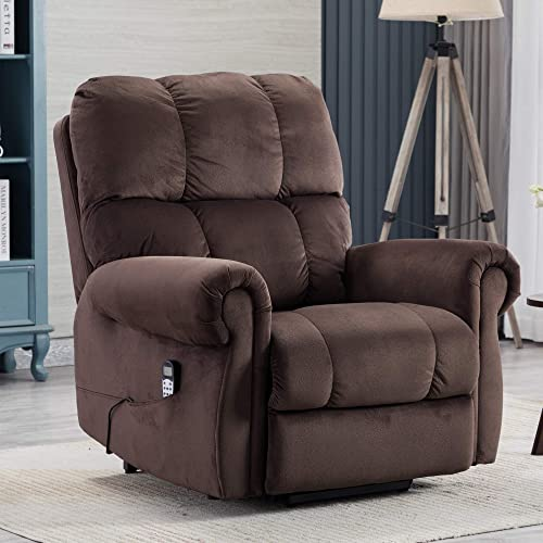 Electric Lift Recliner with Heat Therapy and Massage, Suitable for The Elderly, Heavy Recliner, with Modern Padded arms and Back, Chocolate Color