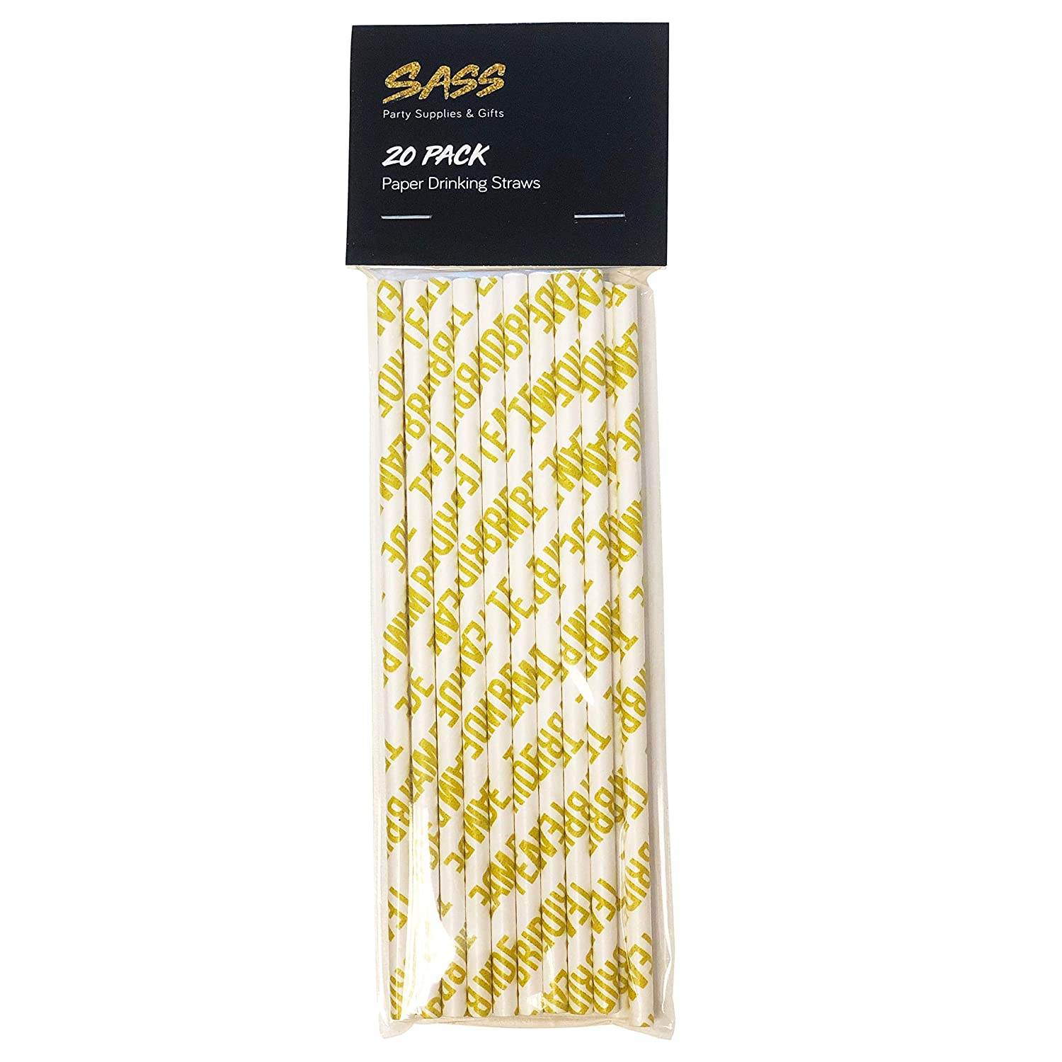 Pack of 20 White /& Gold Eco Friendly Team Bride Hen Party Paper Drinking Straws