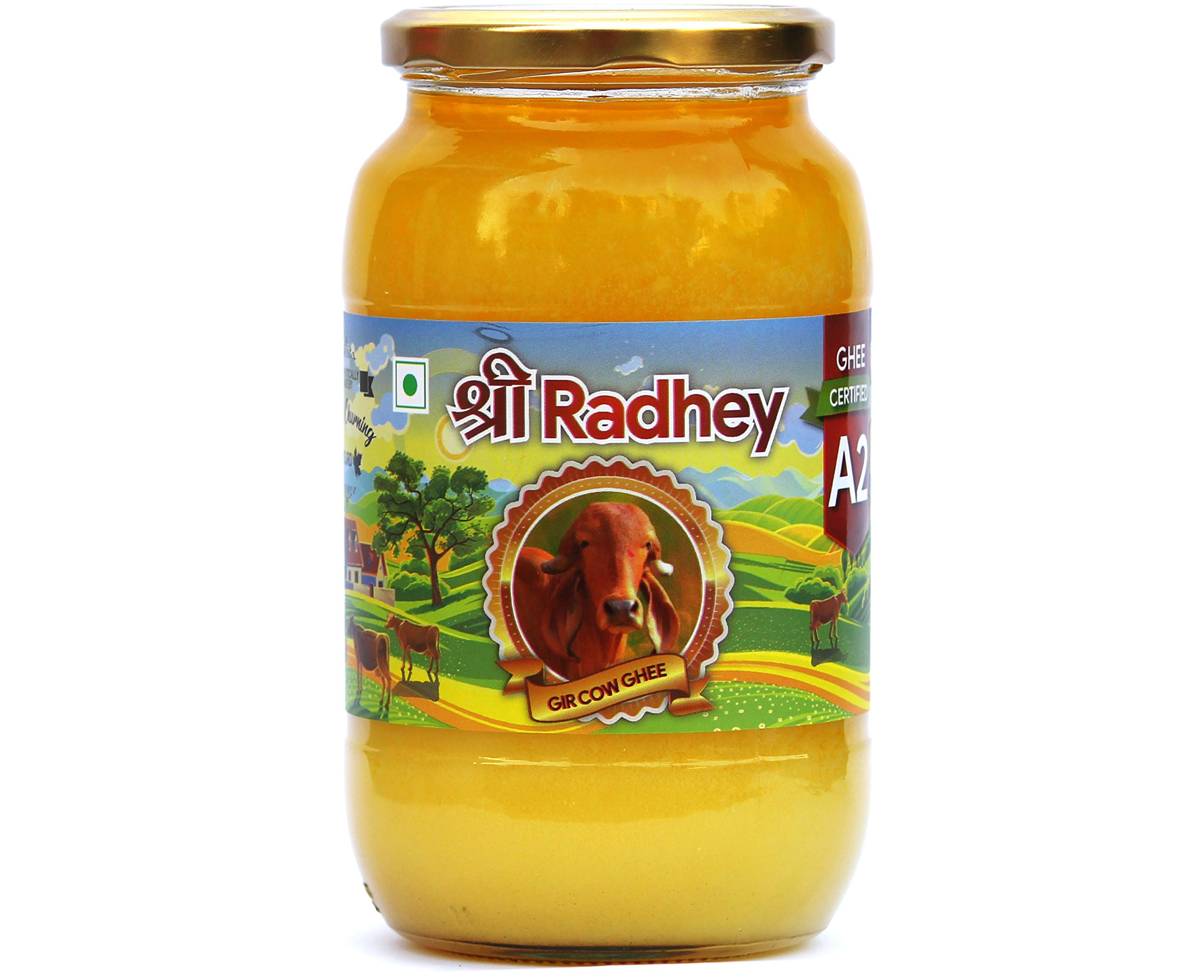 Shree Radhey Certified A2 Gir Cow Ghee - Gluten Free - (Traditionaly Hand Churned) 1000 ml