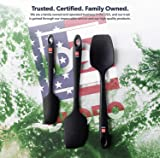 Di Oro Seamless Series 3-Piece Silicone Spatula Set - 600°F Heat Resistant Non Stick Rubber Kitchen Spatulas for Cooking, Baking, and Mixing - LFGB Certified and FDA Approved Pro-Grade Silicone Black
