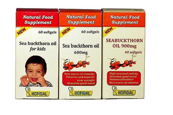 Aceite de Argousier 300 mg para niños, antioxidante, detoxyant & immunostimulant, Renforce la Sante para la Saison fría, 60 Cápsulas, aceite prensado en ...