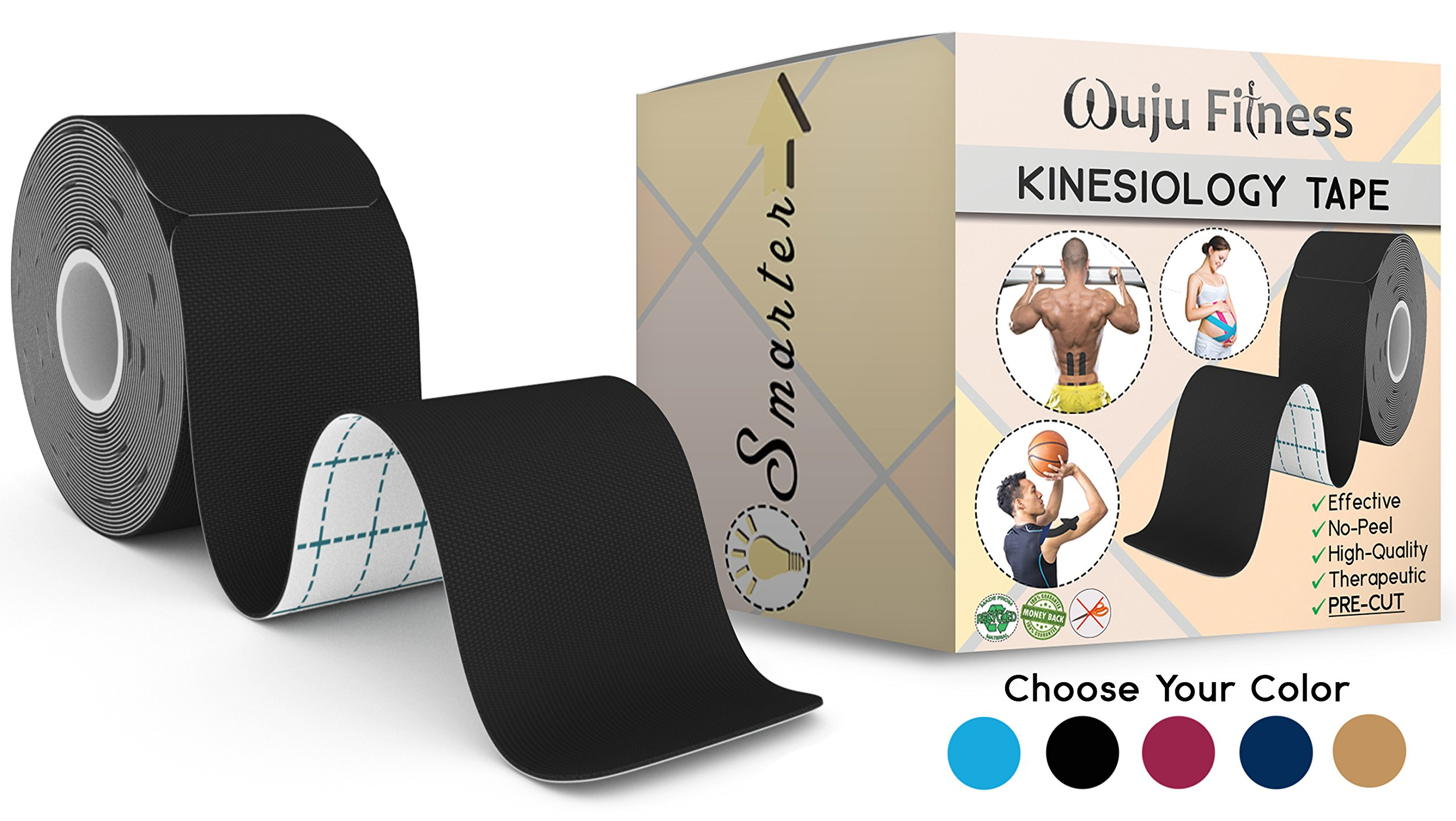 Athletic Tape for First Aid Kit, Physical Support Therapy, Sports Exercises. Lower Back, Heel, Foot, Joint, Shoulder, Muscle and Plantar Fasciitis Pain Relief. 20 precut Black KT strips 2''x10''