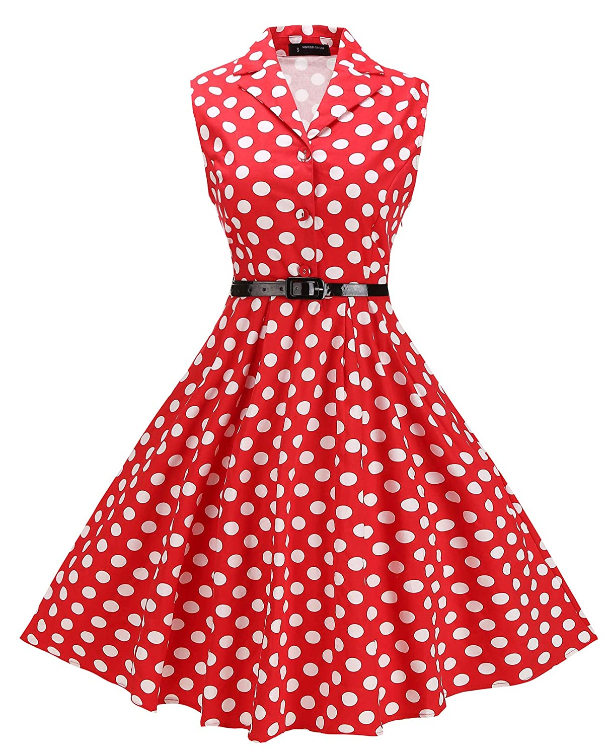Red White Dots Bi.tencon Women 1950s Vintage Sleeveless Belted Swing Shirt Dresses with Pockets