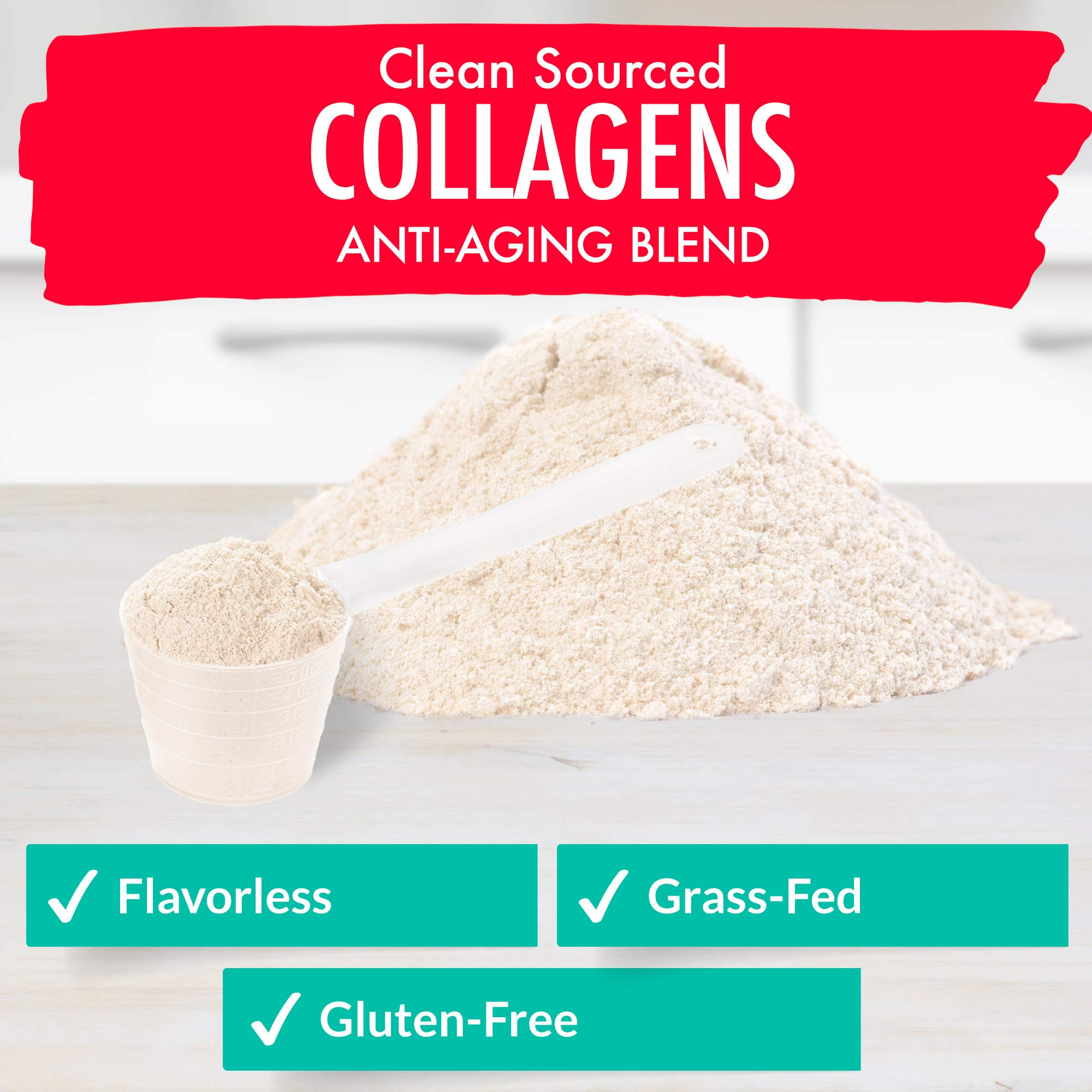 Collagen Powder - 5 types in 1 - Improves Hair, Skin and Nails - 4 Sources Including Marine Collagen and Bone Broth Collagen - Clean Sourced Collagens by Organixx (30 Servings) by ORGANIXX (Image #3)