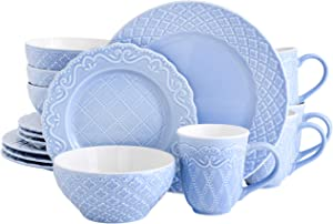 Gibson Home Quilted Eyelet Round Dinnerware Set, Service for 4 (16pcs), Blue
