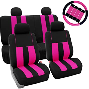 FH Group Stylish Cloth Airbag Split Ready Full Set Car Seat Covers Combo