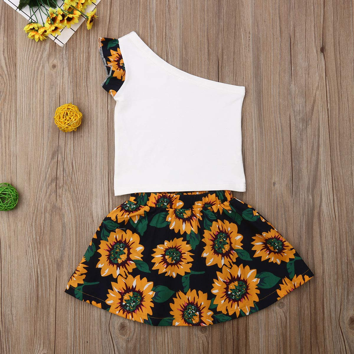 Skirt Clothes Set AMILIEe Infant Toddler 2PCS Girls One Shoulder Sunflower Print Top