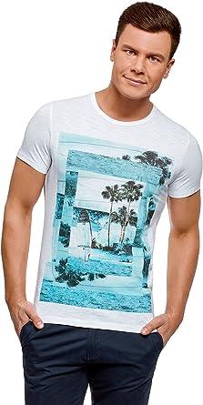 oodji Ultra Hombre Camiseta Estampado Playero, Blanco, ES 52-54 / L: Amazon.es: Ropa y accesorios