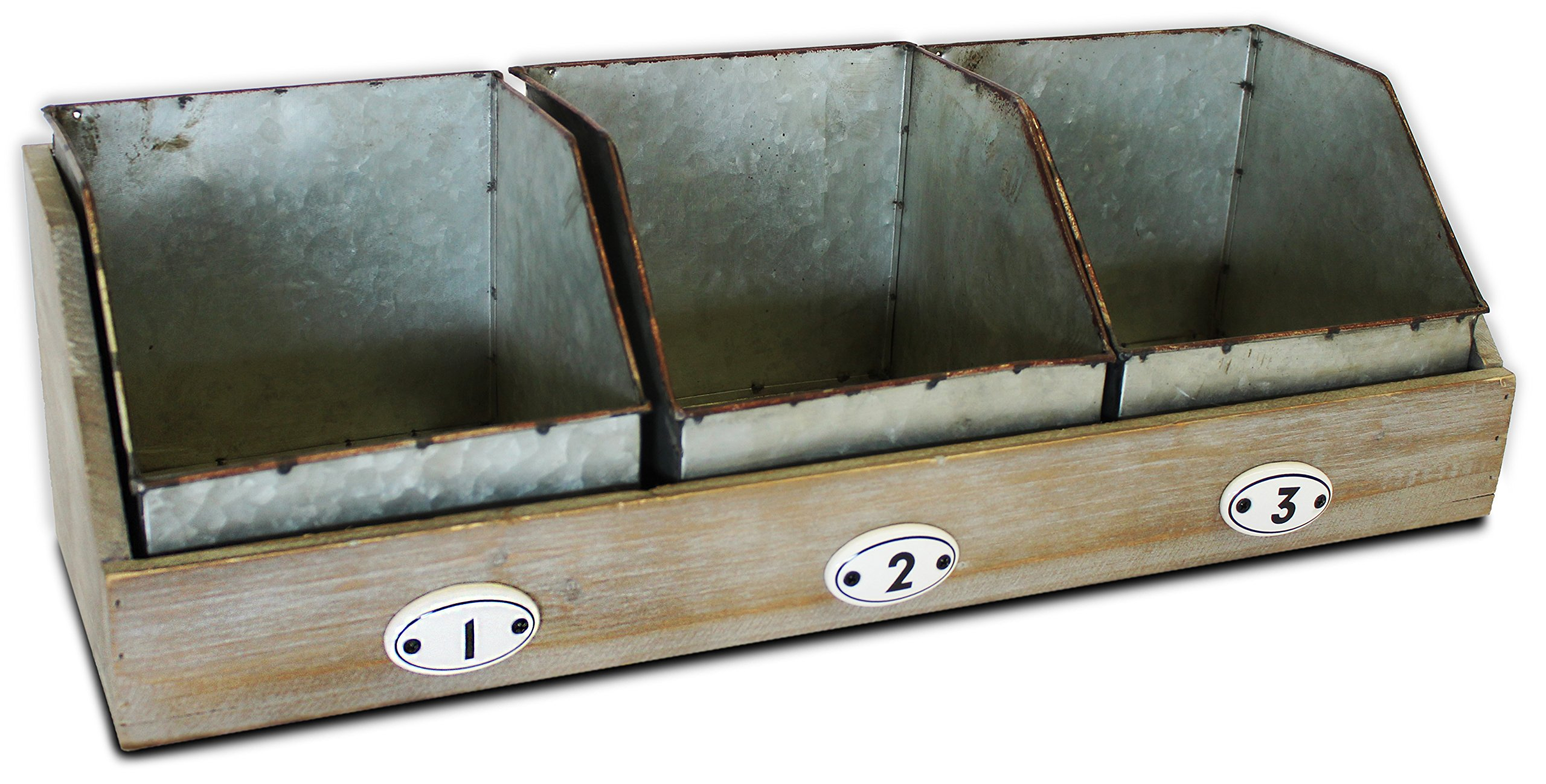 Metal and Wooden Organizer, 20 inches with Three Galvanized Storage Drawers for Counter, Desk, or Shelf by Urban Legacy