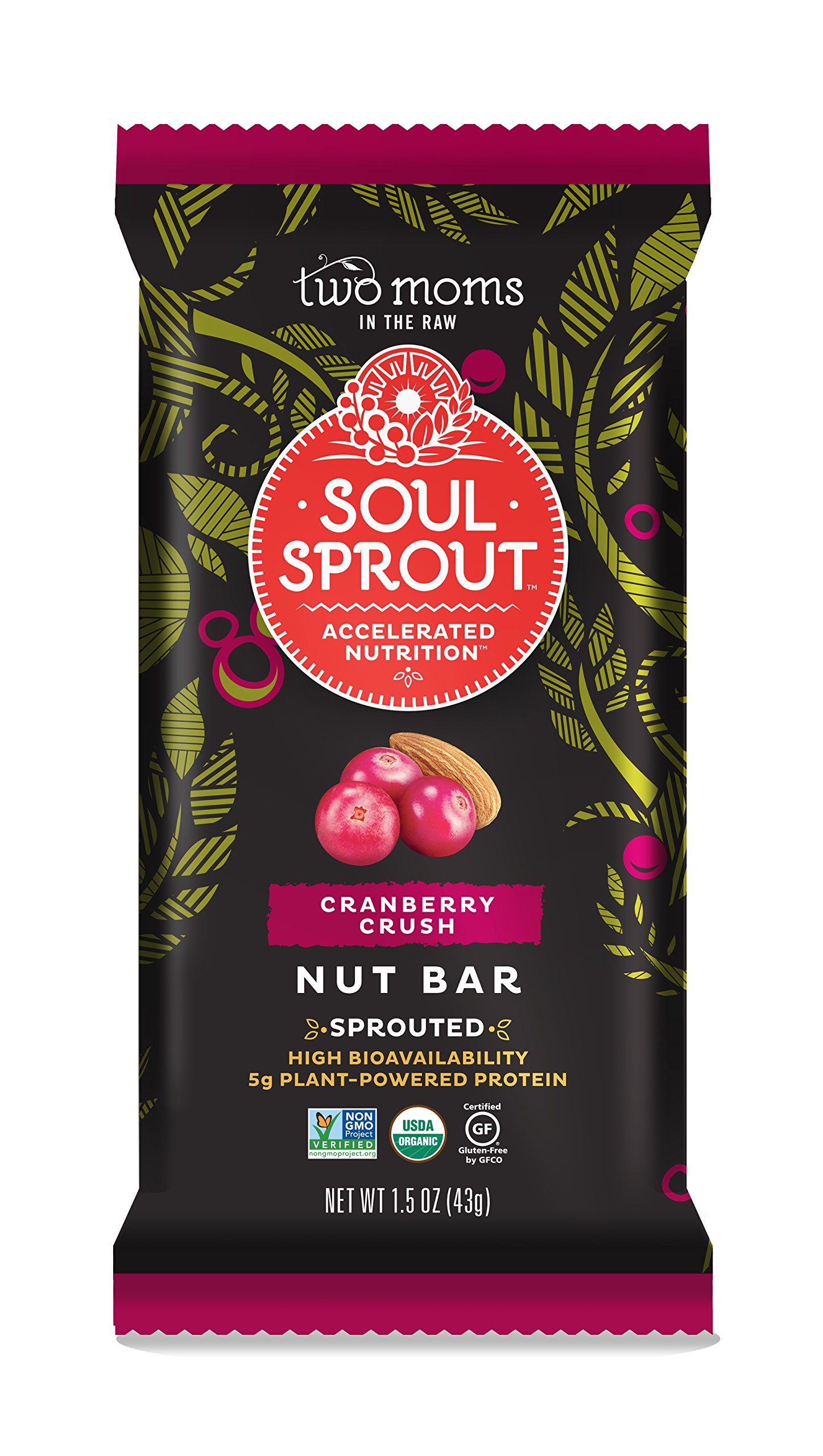 Soul Sprout by Two Moms Sprouted Nut Bar, Cranberry Crush, 1.5 Ounce (12 Count)
