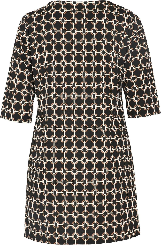 PAPRIKA Damen große Größen Gerade geschnittenes Kleid mit Ketten-Print Rundhals 3/4 Ärmel Schwarz